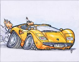 Countach LP400 watercolor by R0tti