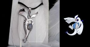 'Flying Lugia', handmade sterling silver pendant by seralune