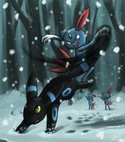 Umbreon vs. Sneasle by pettyartist