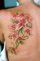 Lillies On Shoulder Blade by fatsalty