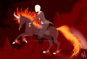 Slenderman on a unicorn by NullAndArt