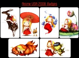 Squishies: Anime USA Badges by Tirael