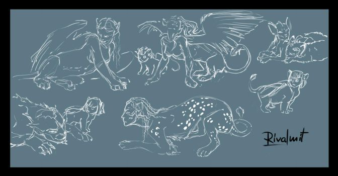 Doodles sphinx and more by rivalmit