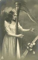 Girl With Harp by HauntingVisionsStock