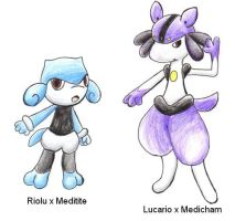 Crossbreeds:Lucario x Medicham by ShrubSparrow