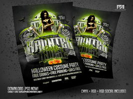 Haunted House Party Flyer PSD Templates by pawlowskiart