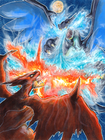 Mega Charizard Battle Commission by matsuyama-takeshi