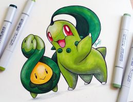 Budew and Chikorita by Teresa-Tsareena