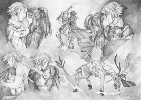 Couple Sketchpage II for GamerGirl0608 by LonelyFullMoon