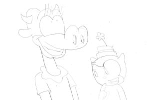 Clarabelle Cow and Ortensia thinking on their idea by MarcosLucky96