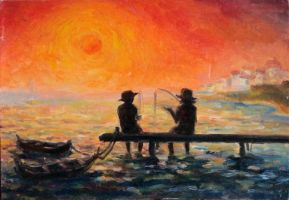 Fishermen discussing the suntset by Svetlana-Eliro