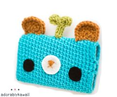 blue leafy bear gadget cozy by adorablykawaii