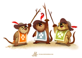 Daily Paint #1241. The Three Muskrateers by Cryptid-Creations