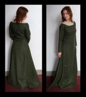 green wool medieval dress by numberjumble