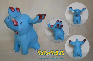 Pokemon Papercraft - Phanpy by PaperBuff