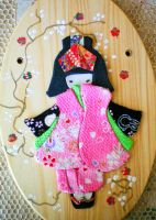 Japanese Doll Wood Plaque Pink by bobbin4apples