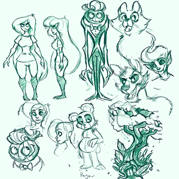 sketches for webcomic by The-Elusive-Cat