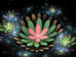 Fractal Water Lilies by wolfepaw