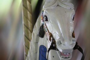 White Horse in Merry Go Round by Jessawary