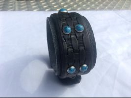 Heavy-duty Turquoise/black Leather Wristband by Altitude-Artisan
