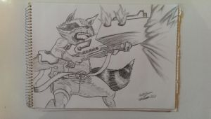 Guardians of the Galaxy Drawing Rocket Raccoon by SavageSpeaks