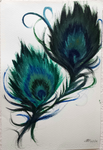 Feathers - Acrylics by Moonbei