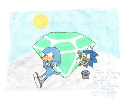 Painting Knuckles Blue- Art Trade With Dawn by Nado13579