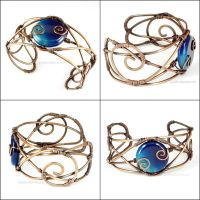 Copper and Blue Agate Cuff Bracelet by Gailavira