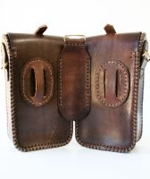 Steampunk leather twin pouch 2 by AmbassadorMann