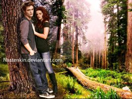 Bella and Edward in the forest by Nastenkin