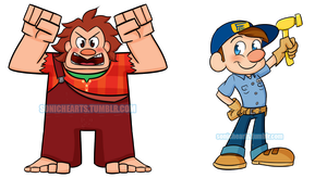 Ralph and Felix Keychains by SonicHearts