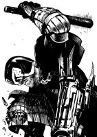Judge Dredd line art by bumhand