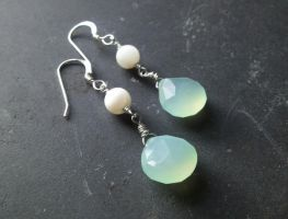 Pale Aqua Chalcedony and Mother of Pearl Earrings by QuintessentialArts