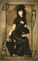 Art Nouveau: Queen of Spades by artofdaniel