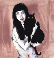 Girl with cat by valerievargas