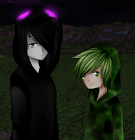 MINECRAFT - Creeper and Enderman (Yaoi?) by YAOIFujoshi-Mely