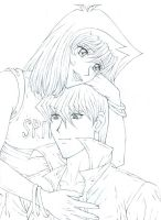 Seto and Anzu WIP for Betsy by Yamigirl21
