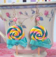 Blue Ribbon Lollipop Earrings by Cuddlebugeeshi