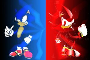 Shadow VS Sonic by macmasterkay