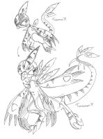 TesomonX and TeoromonX by Winged-Dragoness