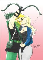 Green Arrow-Black Canary Arced Bow Kiss by WibbitGuy