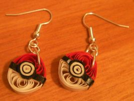 Quilled Pokeball Earrings by cunningcatcrafts