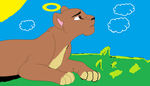 Me as a lioness in a field by GolfingQueen
