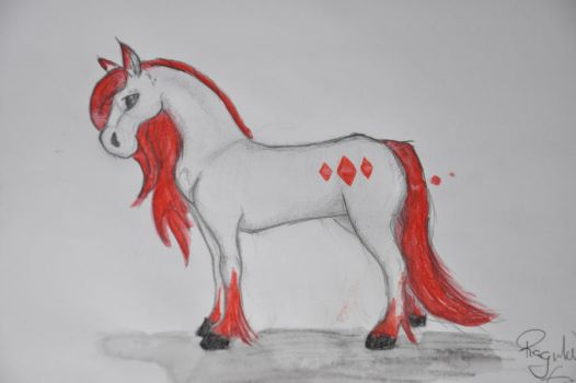 white an red horse by Nikita-Norway