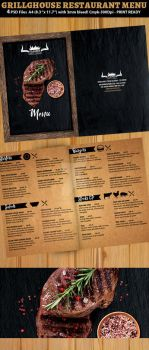 Grill Restaurant Menu Flyer template by Hotpindesigns
