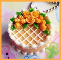 Orange Rose Cake Necklace by cherryboop