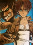 Attack on Titan Eren Jaeger and Titan Form by Enchanted-Wings