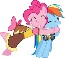 Pinkie hugging Dashie by jeosadn
