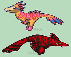 Raptor pinatas by Ribbedebie