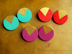 Wooden Handpainted Turquoise Coral Purple Earrings by nowey